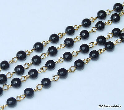 """Black Pearl Glass Rosary Chain - Polished Round 6mm Bead - Gold Plated - 39"""""""