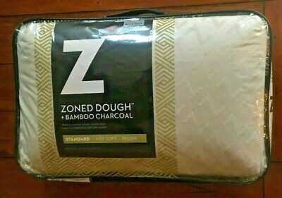 NEW Malouf Z Zoned Dough Memory Foam Pillow Infused w/Bamboo Charcoal Standard