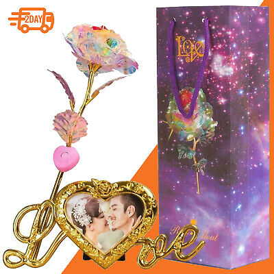 Valentine s Day Galaxy Rose Flower Lovers Gift Romantic Crystal Love Decor Gold
