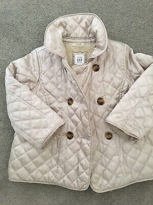 Girls GAP Jacket Age 3 Cream Quilted And Shearling Lined Trotters