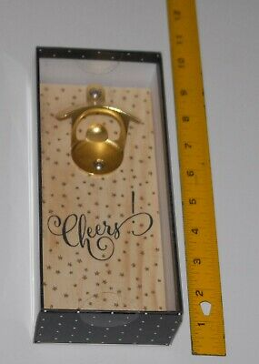 New in Box Wall-Mounted Bottle Opener says Cheers