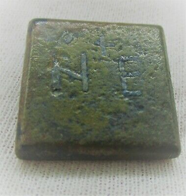 Authentic Byzantine Period Bronze Cube Solidus Weight 21G Marked 'Ne' With Cross