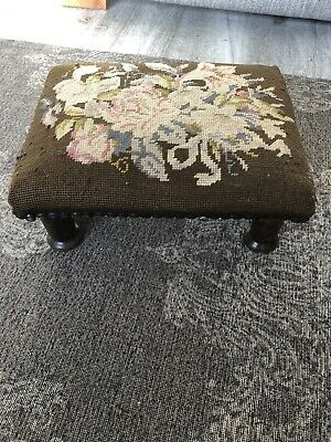 Tapestry Stool Embroidered Small Foot Stall Antique