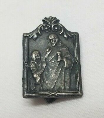 Vintage Antique First Holy Communion Medal Souvenir Pin Sterling Silver Charm