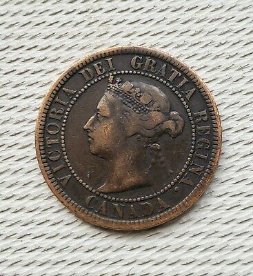 1884 Canadian large cent. Queen Victoria one cent. Very nice condition and color