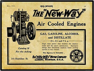 1910 New Way Motor Co. Air Cooled Gas Engines New Metal Sign: Lansing, Michigan
