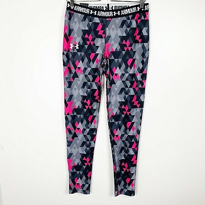 Under Armour Girls Full Length Athletic Yoga Leggings Pants Black Pink XL YXL