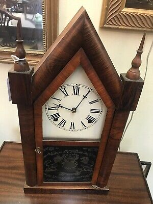Antique 1800s E.N. Welch Clock Eight Day 30 Hour Mantle Clock Unusual Victorian