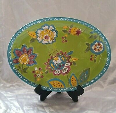 "Dutch Wax By Coastline Imports Green Blue Yellow Red Floral Platter 13.5"" x 10"""