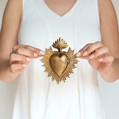 The Queen of Crowns Sacred Heart, Metal Heart Milagro, Gold Heart Box, Ex Voto