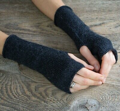 Wool dark gray fingerless mittens women winter crochet arm warmers knit gloves