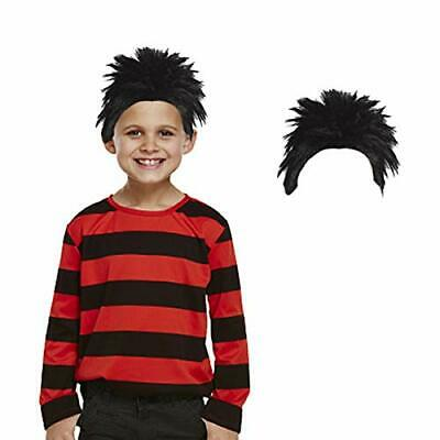 Childrens Kids Boys Red Black Striped Top Wig Fancy Dress Costume World Book Day