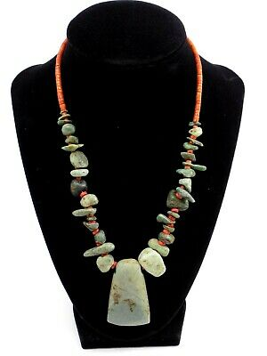 Pre-Columbian Olmec Blue Jade and Spondylus Bead Necklace