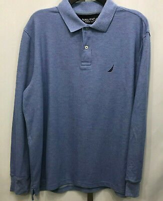 Men's Nautica Blue Long Sleeve Polo Shirt Performance Classic Fit Large  B28