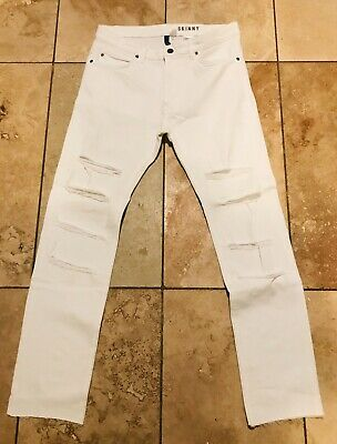 """H&M men's White  ripped skinny fit jeans Size 32 New No Tags 🖤🖤 32""""x30"""""""