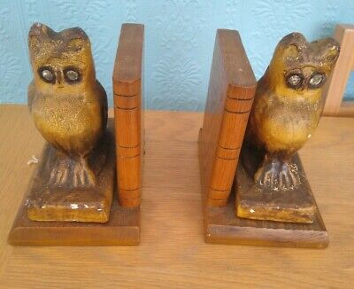 Antique Pair Of Arts and Crafts Ceramic and wood Owl Book Ends W/ Glass Eyes
