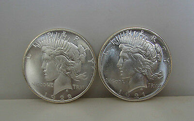1921 /1922 Peace Dollar Heads / Heads  Magic Trick Silver-Plate