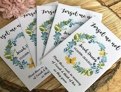 10 Personalised Forget-Me-Not Seeds Funeral Memorial Remembrance memory Favour