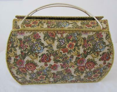 Vintage Handmade Tapestry Craft Basket Box Sewing Knitting Storage Home Décor