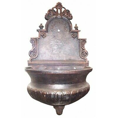 Messina Cast Iron Wall Fountain w/Brass Tap Antique Bronze or Black Outdoor
