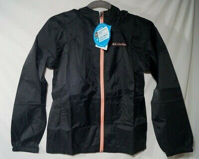 Columbia Youth Girls' Switchback Rain Jacket Waterproof & Breathable Black Large
