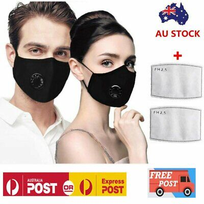 P2 Anti Air Pollution Face Mask Respirator & 2 Filters N95 Washable Adjustable