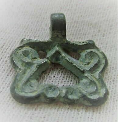 Early Medieval Bronze Silvered Heraldic Pendant Wearable Detector Find