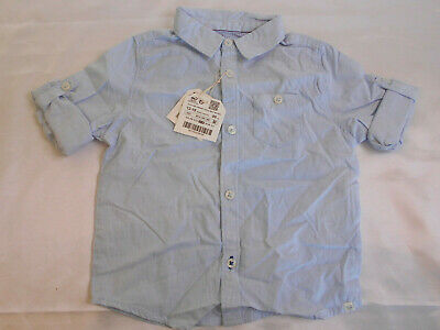 Zara Baby Boys Cotton Shirt Age 12-18 Months Blue Fine Check BNWT   8/20
