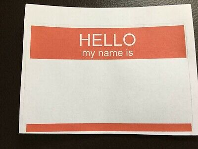 """50 RED """"HELLO MY NAME IS"""" NAME TAGS LABELS BADGES STICKERS - Self Adhesive"""