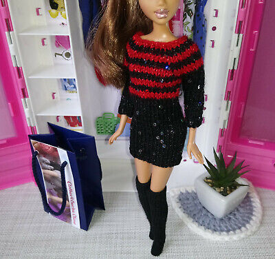 "ooak sweater dress black with red stripes sequins hand-knit  for 1/6th 12"" doll"