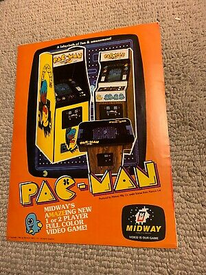 """11-8 1/4"""" Pac Man Midway arcade video game FLYER AD"""