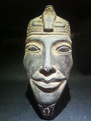 EGYPTIAN ANTIQUE ANTIQUITIES Atum Sun God Face Sculpture Figure 1570-1077 BC