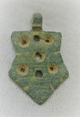 Ancient Byzantine Bronze Crusaders Amulet Shaped Like A Shield