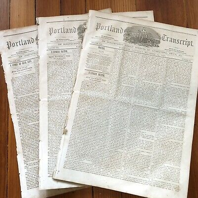 3  1849 1850 HOMETOWN newspapers ANTI-SLAVE CONVENTION in PORTLAND MAINE Slavery