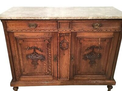 Antique French Marble Top Server,   1920's, Oak