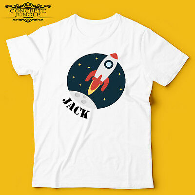 CHILDRENS BOYS PERSONALISED BIRTHDAY GIFT SPACE ROCKET T SHIRT PARTY FAVOUR