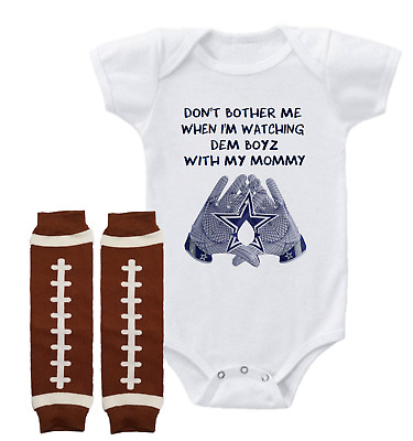 Watching With My Uncle Dont Bother Me Dallas Cowboys Baby Short Sleeve Bodysuit