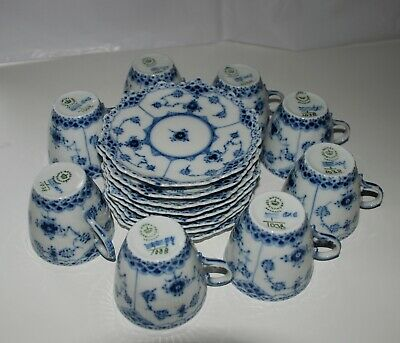 Rare Royal Copenhagen blue fluted full lace demitasse set of 8,#1038,1st quality