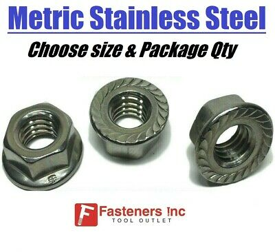 (All Sizes & Qty's) Metric Stainless Steel Serrated Flange Lock Nuts A2 DIN 6923