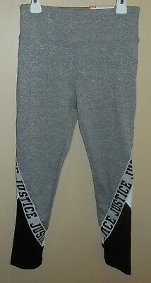 Justice Active High Waist Ankle Length Leggings Girls 14/16 Grey Black White New