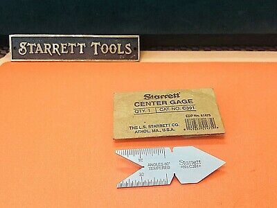 STARRETT No. C391 TEMPERED STEEL THREAD 60 DEGREE CENTER GAGE. MADE IN THE USA.