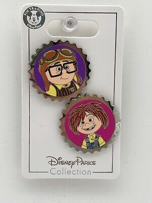 Disney Parks Pixar Up Carl and Ellie Bottle Caps Pins Grape Soda Club 2 Pin Set