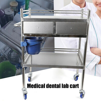 2 Layers Serving Lab Cart Trolley 2 Drawer Stainless Steel Carts