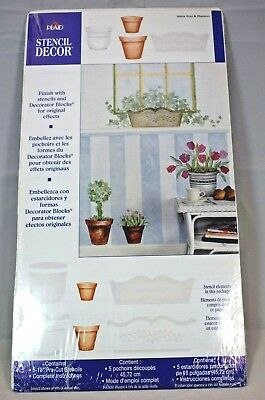 "Plaid - Stencil Decor #26854 Pots & Planters (18"" Pre-cut Stencils) New"