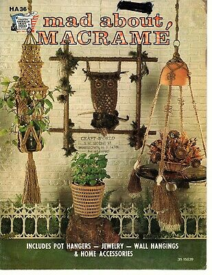 Mad About Macrame Vintage 1975 Pattern Book Hangers, Jewelry, Wall Decor