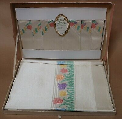 VINTAGE RETRO RAYON TABLECLOTH & NAPKIN SET NEW IN BOX MADE IN IRELAND 1950s