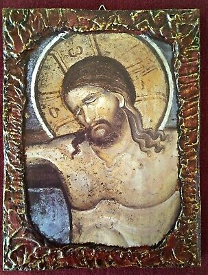 Jesus Christ on the Cross HANDMADE Greek orthodox byzantine wood icon
