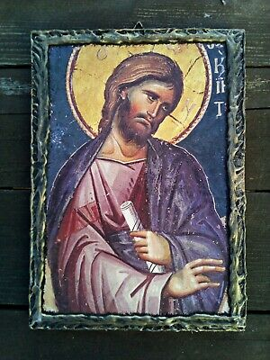 Jesus Christ Blessing HANDMADE Byzantine Greek Orthodox  wood icon