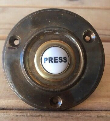 60mm Antique Finish On Brass Circular Bell Push With Ceramic Press Button