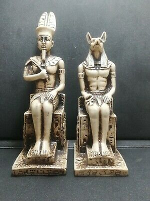 2 Ancient Egyptian Statue King Ramses & God Anubis Set On Throne Figurine White
